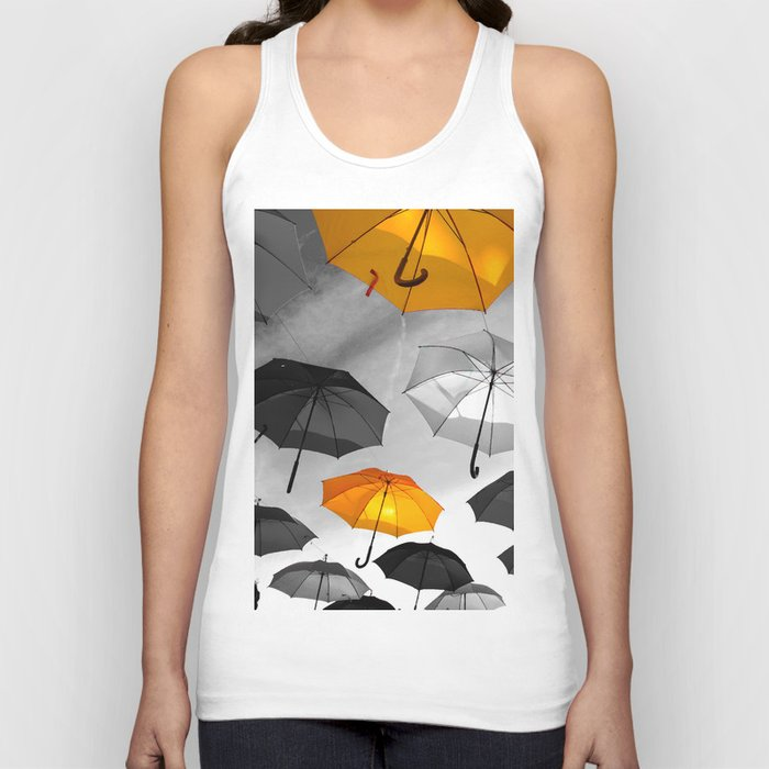 Yellow  is my color - Yellow and Black Umbrellas Unisex Tank Top