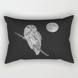 Owl, See the Moon (bw, sq) Rectangular Pillow