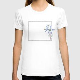 colorado // watercolor columbine state flower map T-shirt