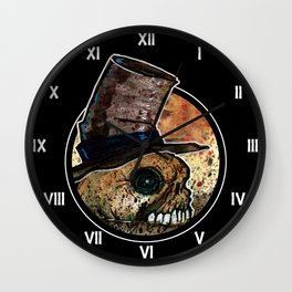 Skull in a Top Hat Wall Clock