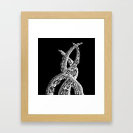Woodcut Style Cthulhu Octopus Tentacles on Black Background Framed Art Print