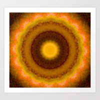 Lovely Healing Mandalas in Brilliant Colors: Brown, Pink, Gold, Yellow, Pink and Green Art Print