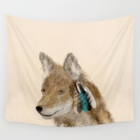 coyote Wall Tapestries featuring Coyote by bri.buckley