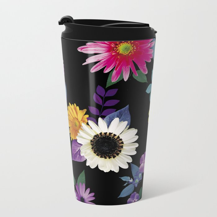 Bright flowers on a black background Metal Travel Mug
