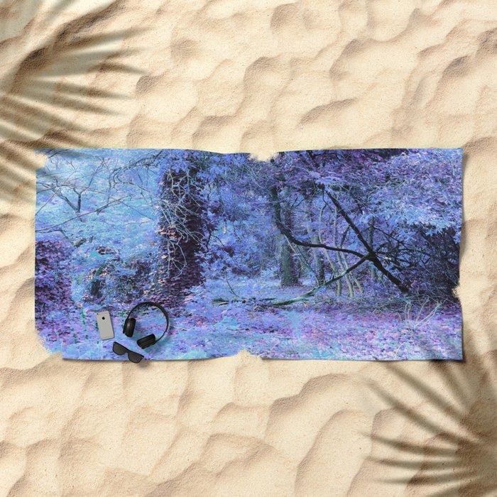 Periwinkle Tree Landscape Beach Towel
