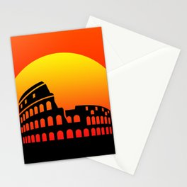 Sunset and colosseum in a red sky Stationery Cards