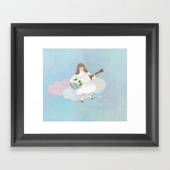 Winter play Framed Art Print