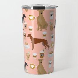 Greyhound coffee dog breed illustration dog art custom dog breeds groundhound rescue dog lovers Travel Mug