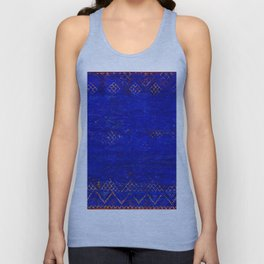 V11 Calm Blue Printed of Original Traditional Moroccan Carpet Unisex Tank Top