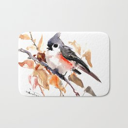 titmouse in the fall, Fall colors, birds and flowers bird art Bath Mat