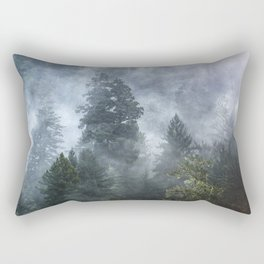 Smoky Redwood Forest Foggy Woods - Nature Photography Rectangular Pillow