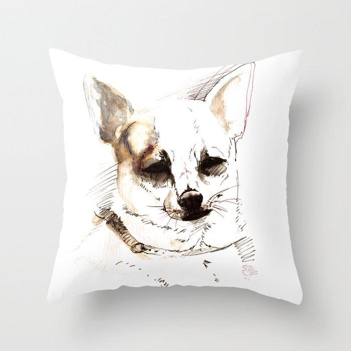 Chihuahua Watercolor Throw Pillow