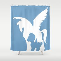 hercules Shower Curtains featuring Hercules by Citron Vert