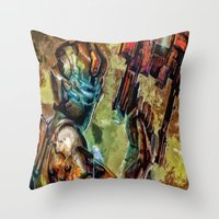 dead space Throw Pillows featuring Dead Space  by Joe Misrasi