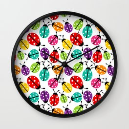 Lots of Crayon Colored Ladybugs Wall Clock