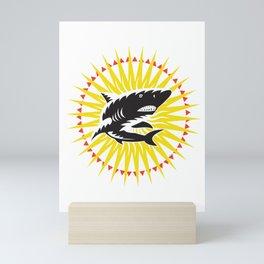 Great White Shark Sunburst Shark Apparel Mini Art Print
