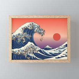 The Great Wave of Pug Framed Mini Art Print