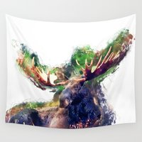 moose Wall Tapestries featuring Moose by jbjart