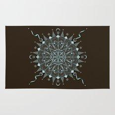 Aqua Leaf Star Mandala Rug