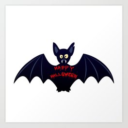 Creepy halloween bat Art Print