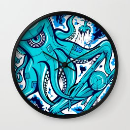 """Sandy"" Electric Octopus Squid Nautical Print Wall Clock"