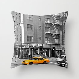 NYC - Yellow Cabs - Bagel Cafe Throw Pillow