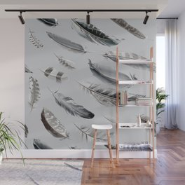 Cosmic Feathers Silver Dust Wall Mural