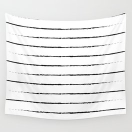 Minimal Simple White Background Black Lines Stripes Wall Tapestry