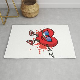 My Heart Dabs for you. Dabbing Heart Love for Valentines day print Rug