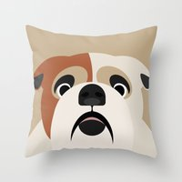 bulldog Throw Pillows featuring Bulldog by SaveTheDogs.es