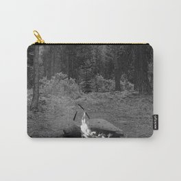 Backpacking Camp Fire B&W Carry-All Pouch