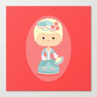marie antoinette Canvas Prints featuring Marie Antoinette by Sombras Blancas Art & Design