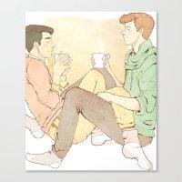 klaine Canvas Prints featuring cutesy klaine  by suitfer