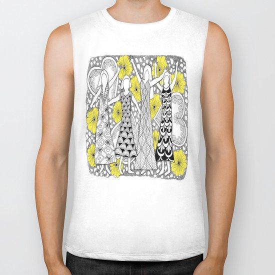 Zentangle Girls - Black and White Illustration Biker Tank