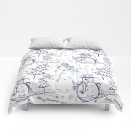 Christmas Elements Winter Snowman Sketch Pattern Comforters