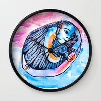 introvert Wall Clocks featuring The Introvert by Dawn Patel Art