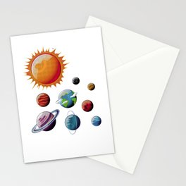 Planets Orbits Sun Moon Earth Galaxy Space Nerds Stationery Cards