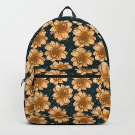 Orange Flowers on Dark Background Backpack