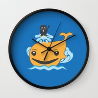 surfing Wall Clocks featuring Surfing by Hagu