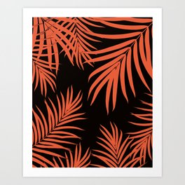 Palm Leaves Pattern Orange Vibes #1 #tropical #decor #art #society6 Art Print