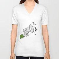 propaganda V-neck T-shirts featuring Megaphone propaganda by Et Voilà