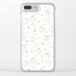 Classic Book Doodles Blue & Yellow Clear iPhone Case