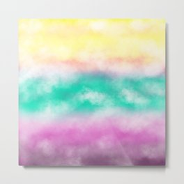 Fruity Cloudscape - grape purple, aqua green & citrus yellow skyscape Metal Print