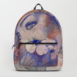The Lowest Common Denominator: Peach (flower lady portrait drawing) Backpack