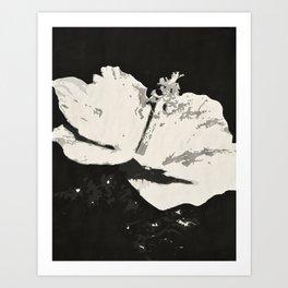 Posterized Black and White Flower Art Print