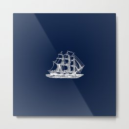 Tall Ship Sailing Illustration in Nautical Navy Blue and White Metal Print