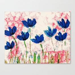 Wild flowers blue collage Canvas Print