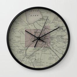 Vintage Ithaca NY Map (1866) Wall Clock