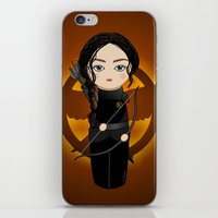 katniss iPhone & iPod Skins featuring Kokeshi Katniss by Pendientera