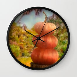Pumpkins in a Line Up Wall Clock